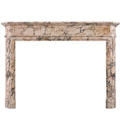 Louis XVI Style French Mantel in Breche Violette Marble