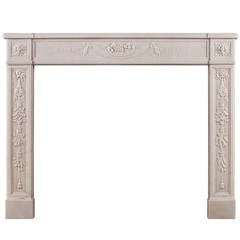 Finely Carved French Louis XVI Antique Fireplace Mantel