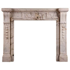 19th Century French Louis XVI Style Mantel Fireplace in Light Pavonazza Marble