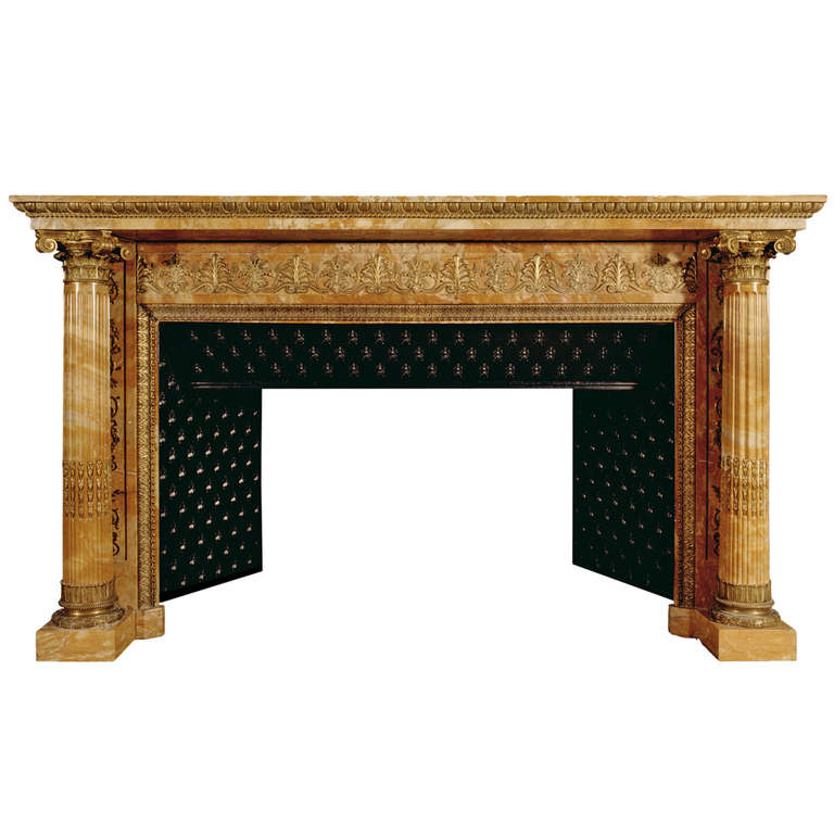 Important french napoleonic empire sienna marble fireplace for Marble mantels for sale