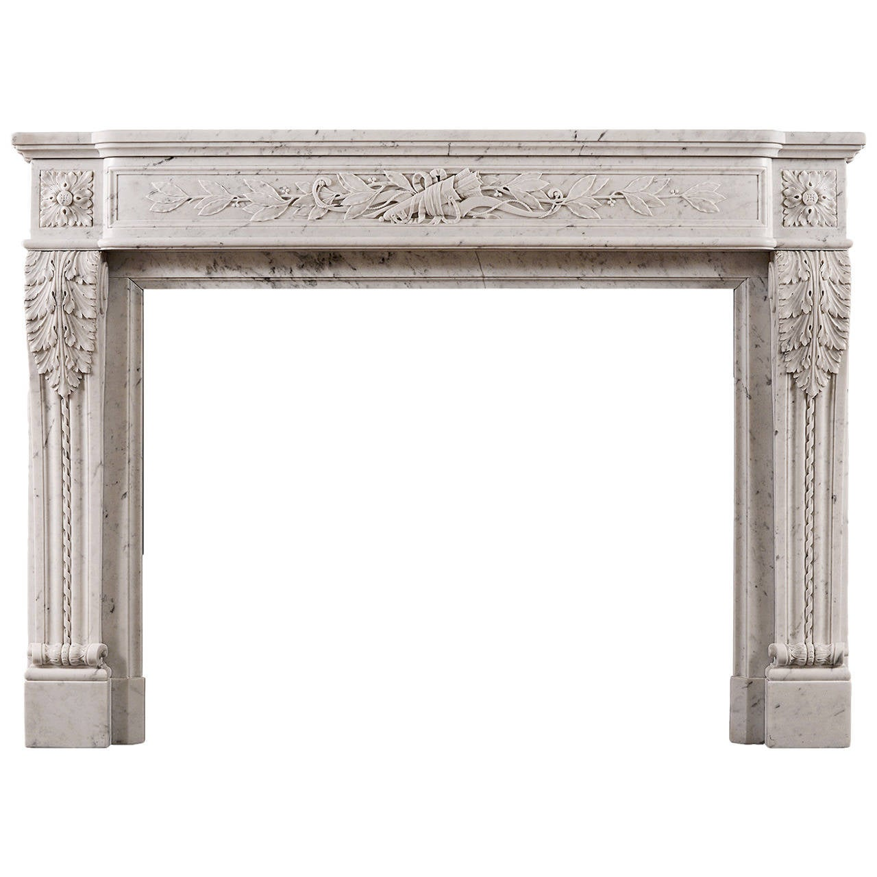 Louis XVI Style French Antique Fireplace in Carrara Marble