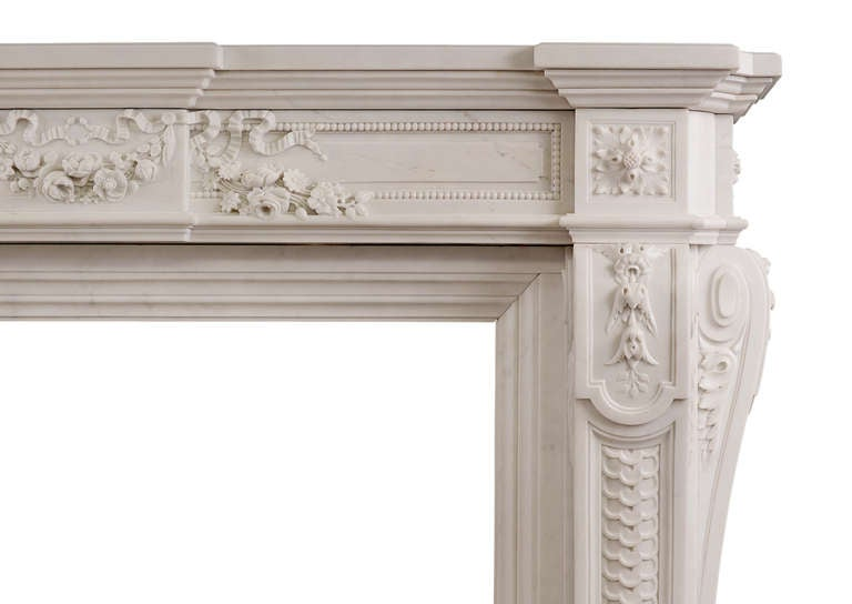 Exquisite French Louis Xvi Style Statuary Marble Fireplace Mantel At 1stdibs