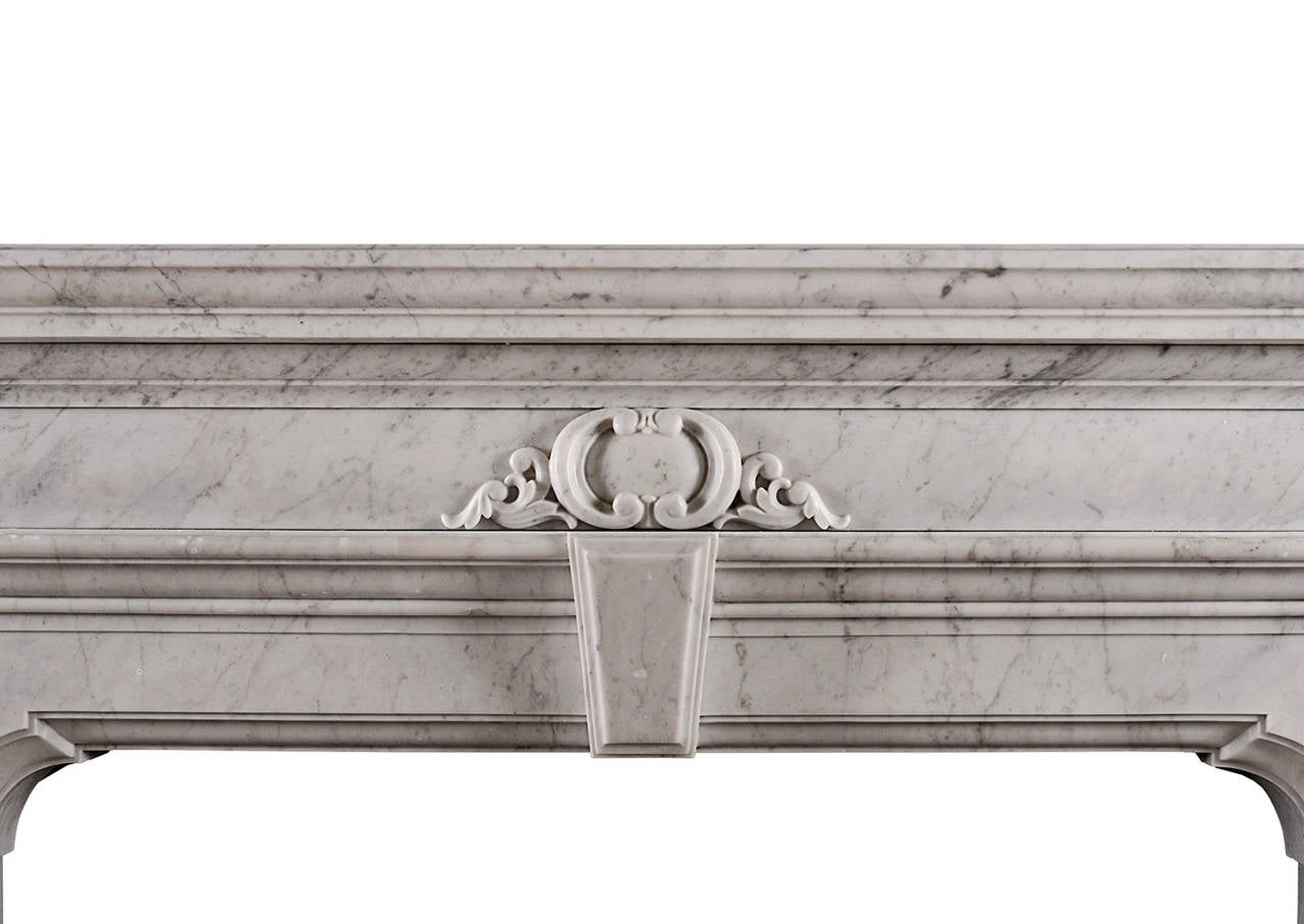 Scottish Mannerist Fireplace in Italian Carrara Marble For Sale