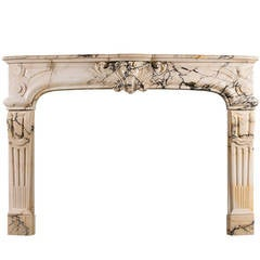 19th Century Louis XIV / Louis XV Style Antique Fireplace in Pavonazzo Marble