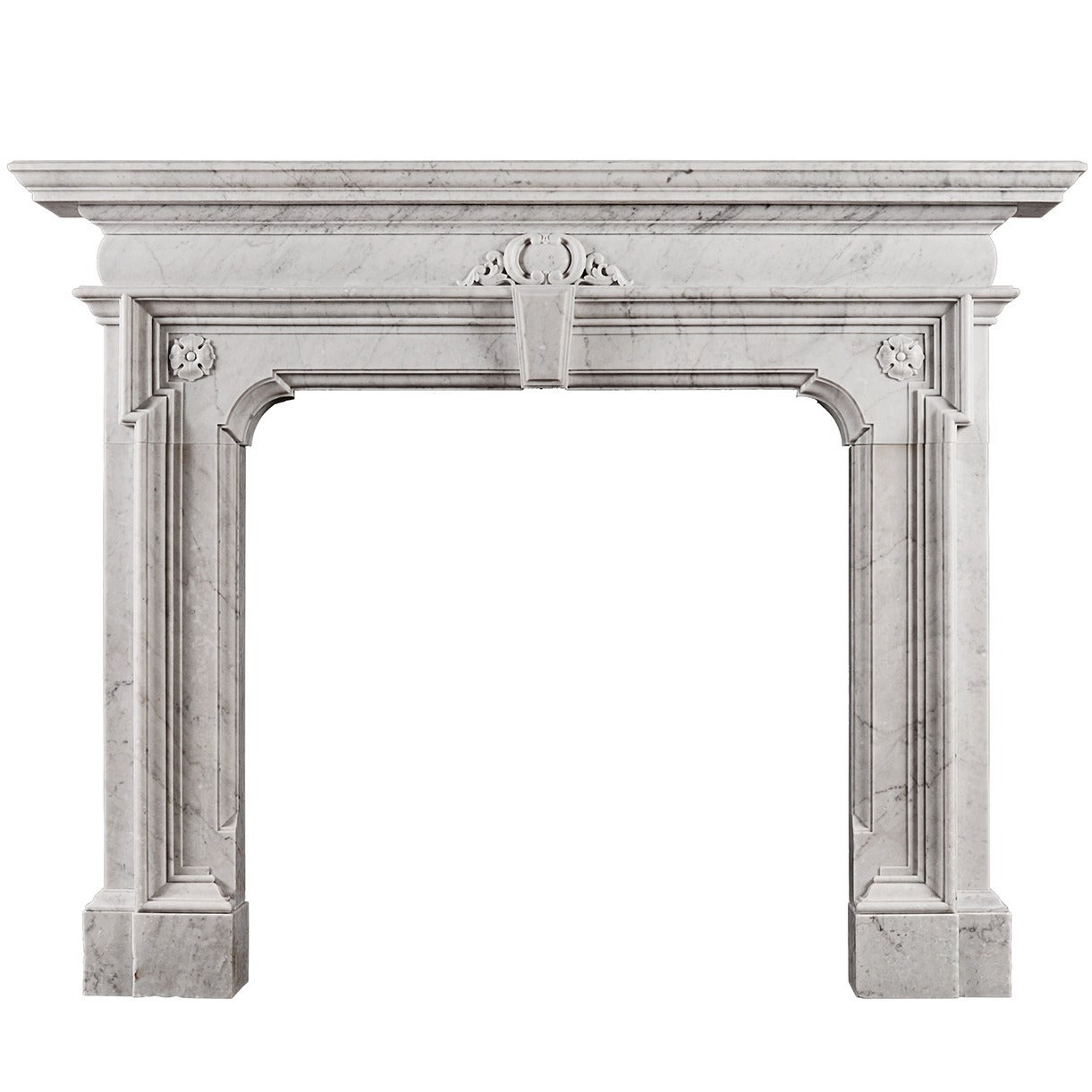 Mannerist Fireplace in Italian Carrara Marble
