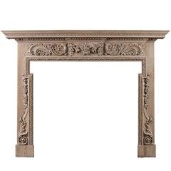 Georgian Style Carved Pine Fireplace