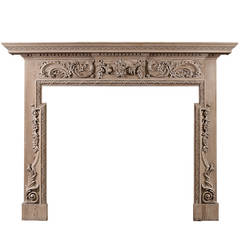 Georgian Style Carved Pine Fireplace