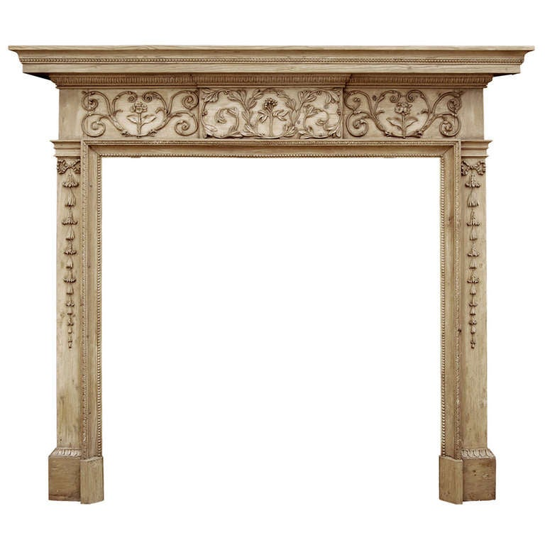 18th Century English George III Carved Pine Fireplace Mantel