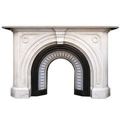 A 19th C. Victorian antique chimneypiece in Statuary marble