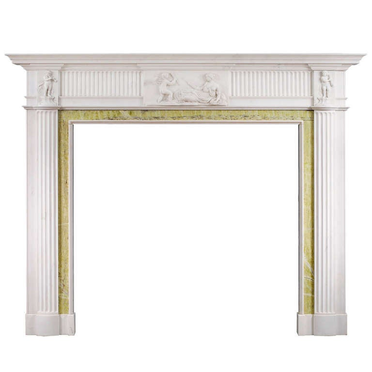 english georgian antique fireplace mantel in statuary