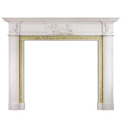 English Georgian Antique Fireplace Mantel in Statuary Marble
