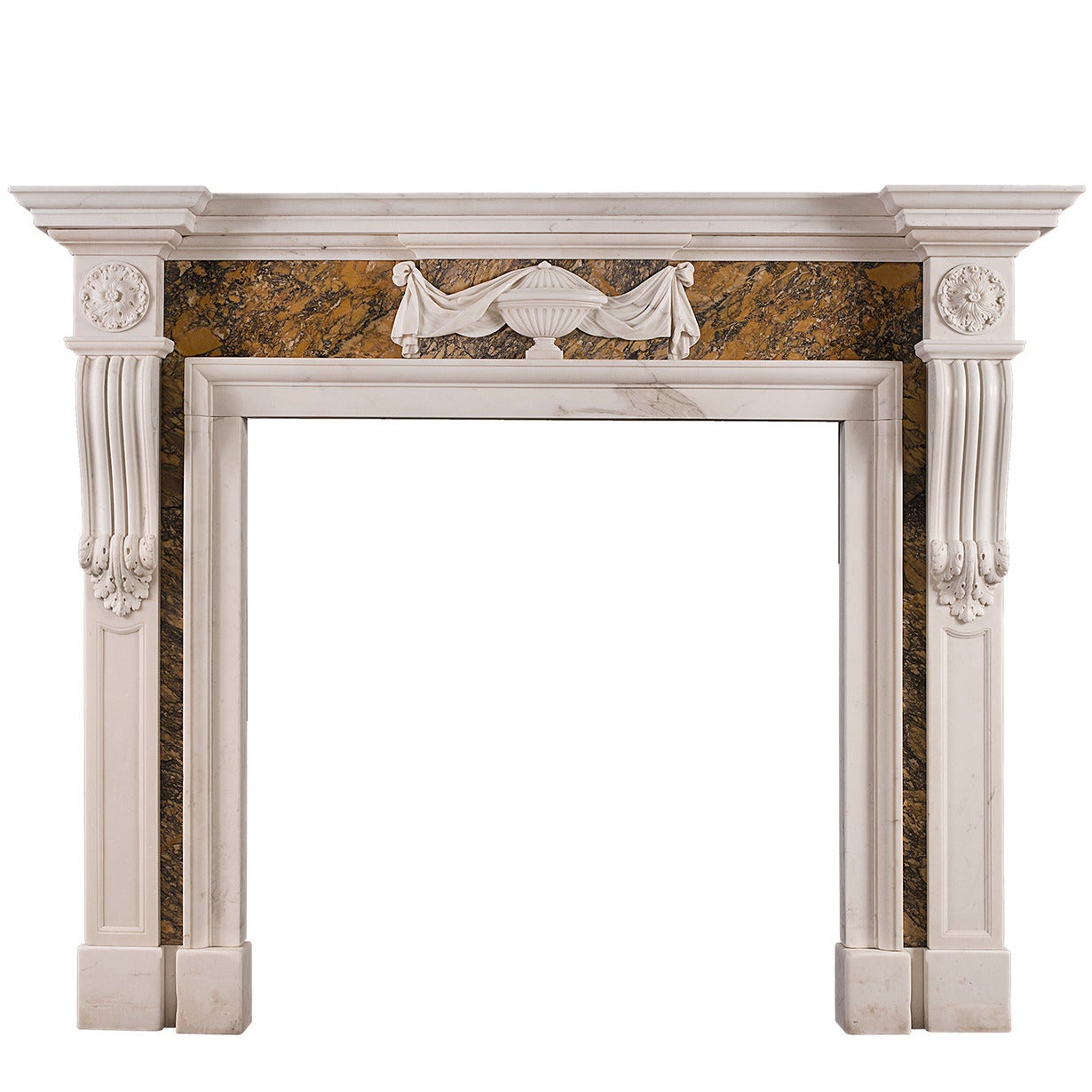 Georgian Style Chimneypiece in Statuary and Siena Marble For Sale