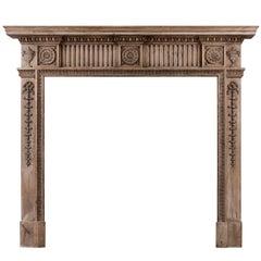 Carved Pine English Fireplace Mantel