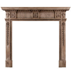 Carved Pine English Fireplace Mantel