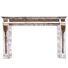 Louis XVI Style Arabescato Marble Fireplace with Brass Ormolu Enrichments