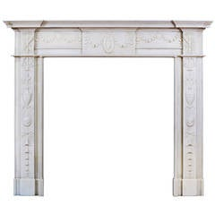 19th Century Marble Fireplace Mantel in the Manner of Robert Adam