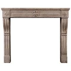 Period Louis XVI Limestone Fireplace Mantel