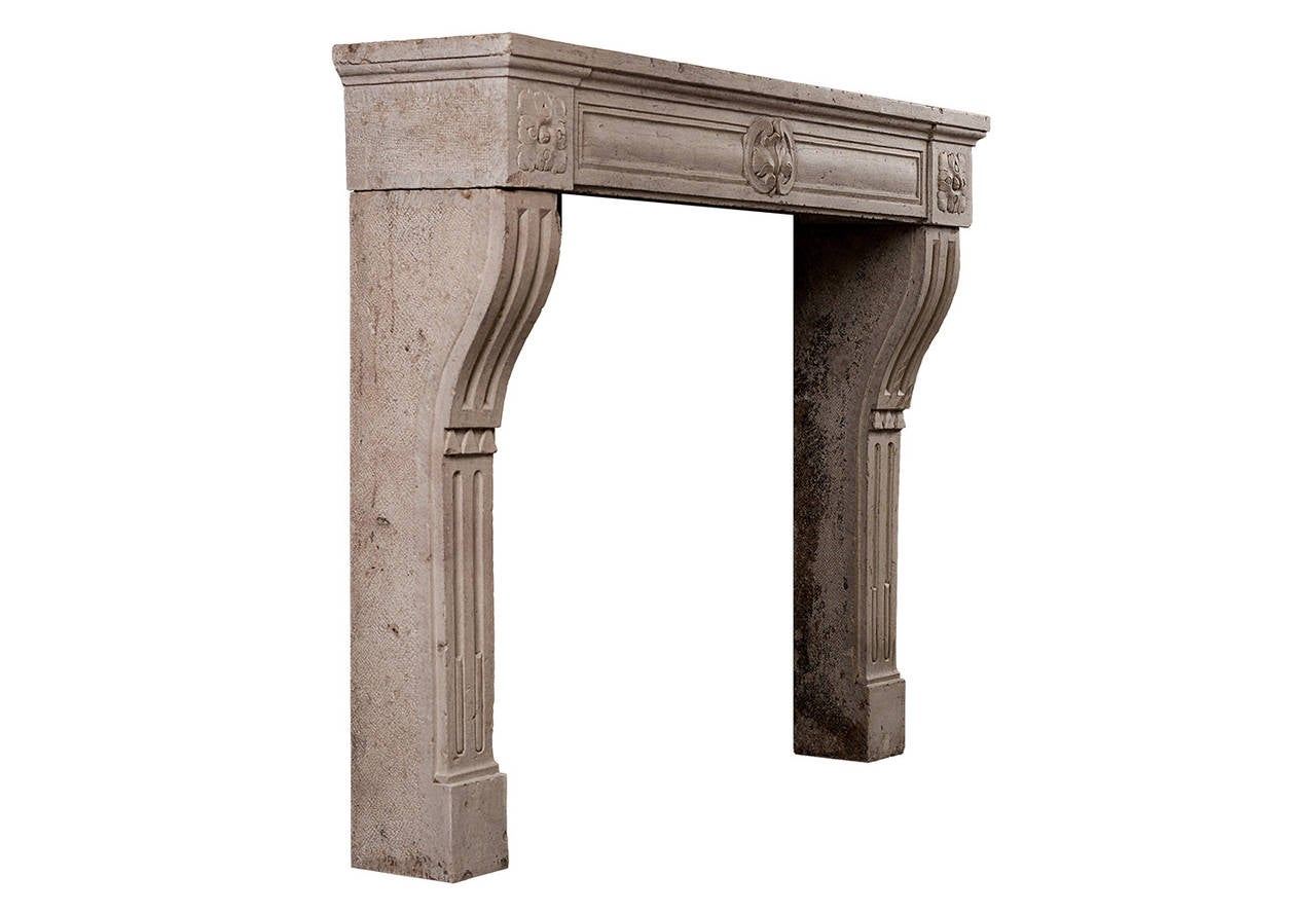 18th Century and Earlier Period Louis XVI Limestone Fireplace Mantel For Sale