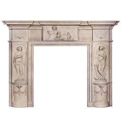 Rare and Beautiful English Coade Stone Fireplace Mantel, circa 1790