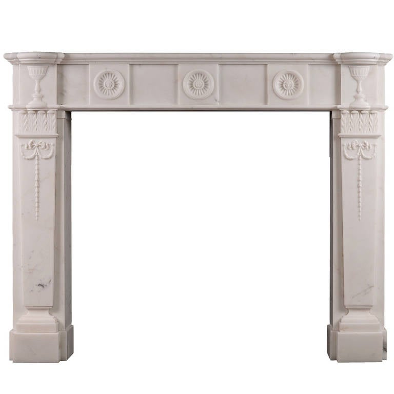 Carved English Antique Fireplace Mantel in Statuary Marble