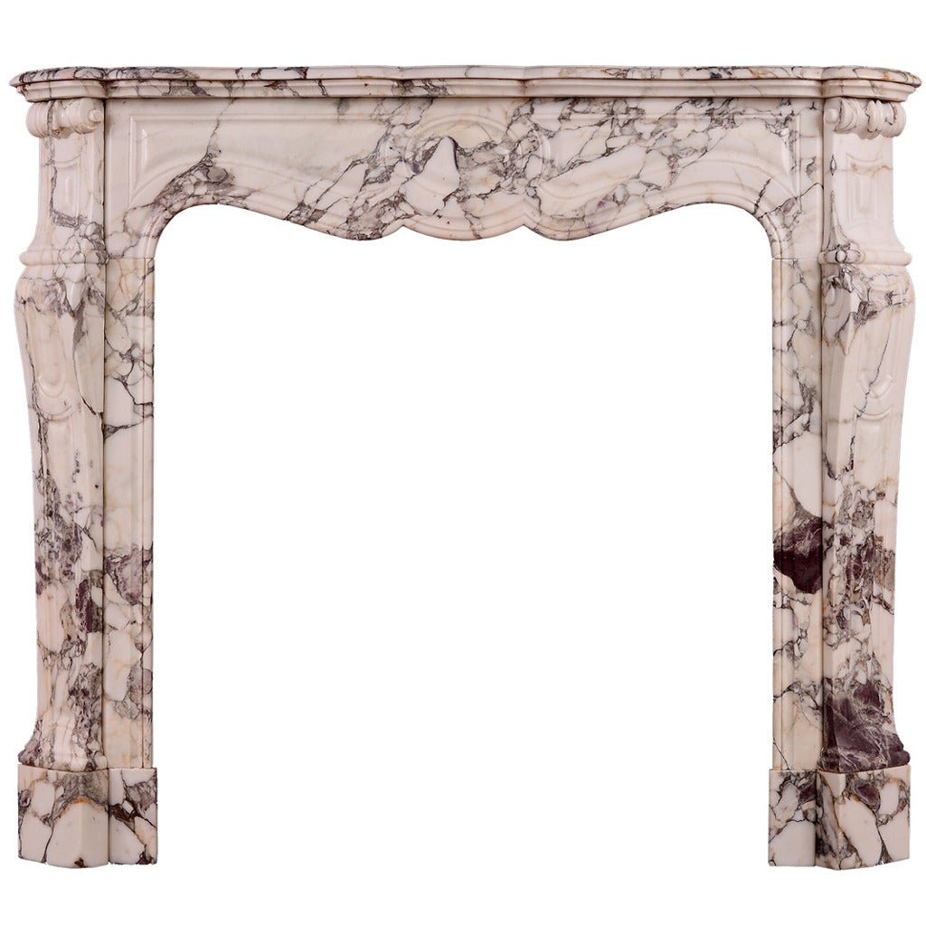19th Century French Fireplace Mantel in Breche Violette Marble
