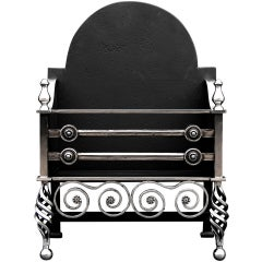 English Arts & Crafts Polished Iron Fire Basket