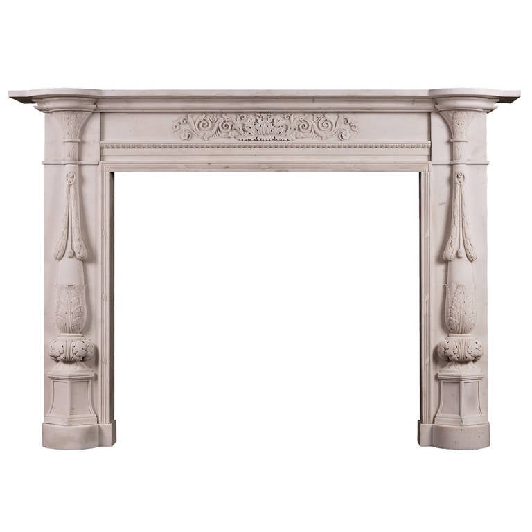 Period Regency Statuary Marble Fireplace Mantel For Sale