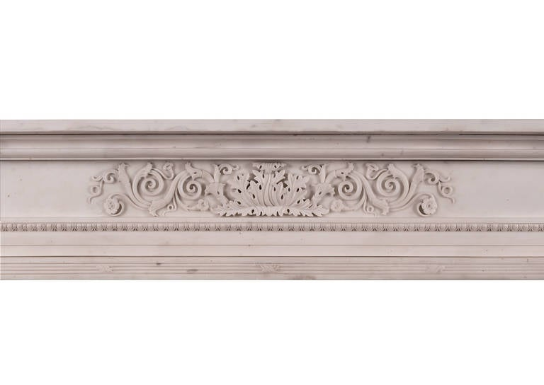 British Period Regency Statuary Marble Fireplace Mantel For Sale