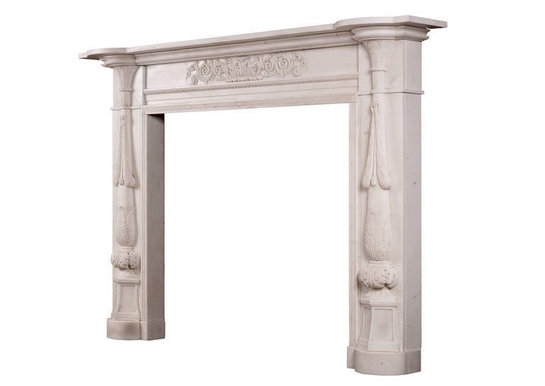 19th Century Period Regency Statuary Marble Fireplace Mantel For Sale