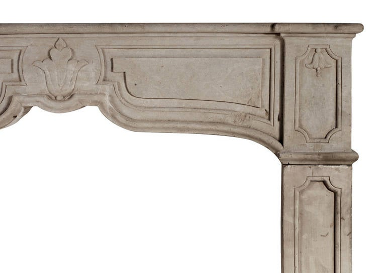 A rustic French stone fireplace. The moulded, panelled frieze with stiff bellflower to centre and corresponding end blocks to sides. Plain panelled jambs, circa 1900.