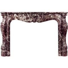 French Louis XV Style Rosso Levanto Marble Mantel