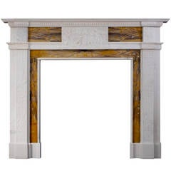 Neoclassical English Statuary and Siena Marble Mantel Piece