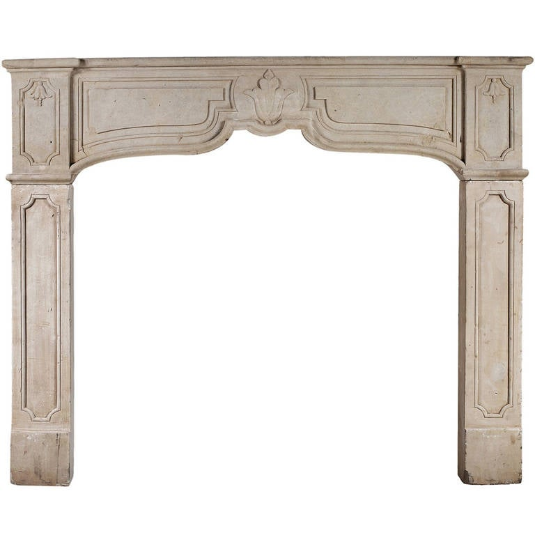 Rustic French Limestone Fireplace Mantel For Sale