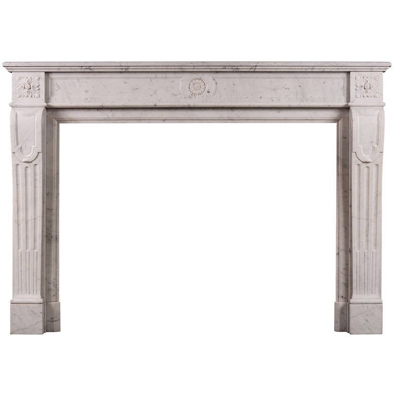 French Carrara Antique Marble Fireplace Mantel, 19th Century