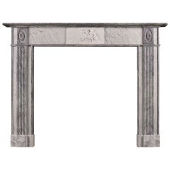 Period Regency Fireplace Mantel in Statuary, Bardiglio and Carrara Marble