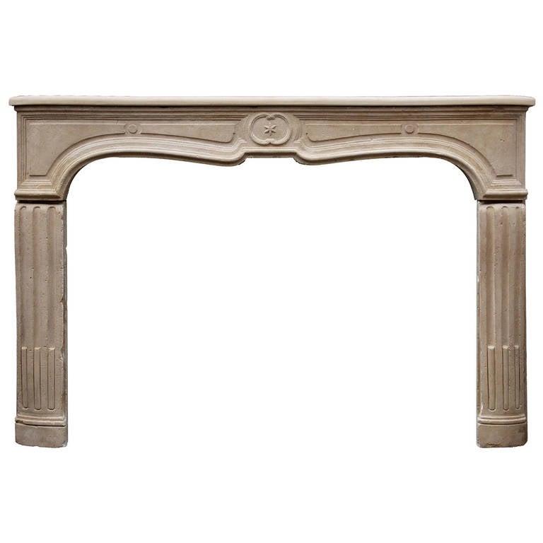 Unusual 18th Century French Limestone Fireplace Mantel