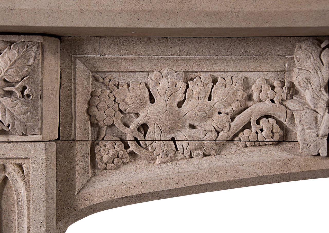 A Well Carved Gothic Revival Bath Stone Fireplace The Focus Of Arched Frieze Being