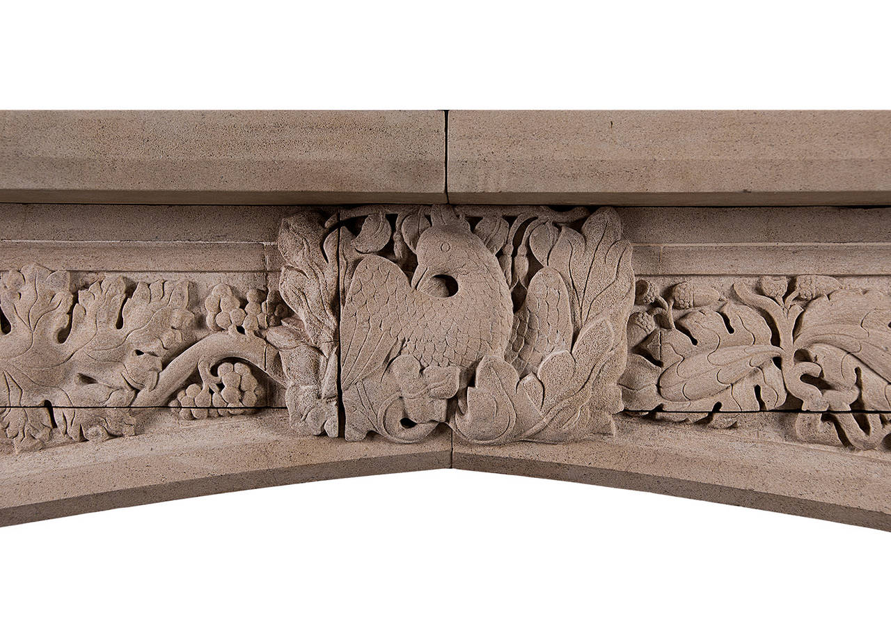 Gothic revival carved bath stone fireplace mantel at stdibs