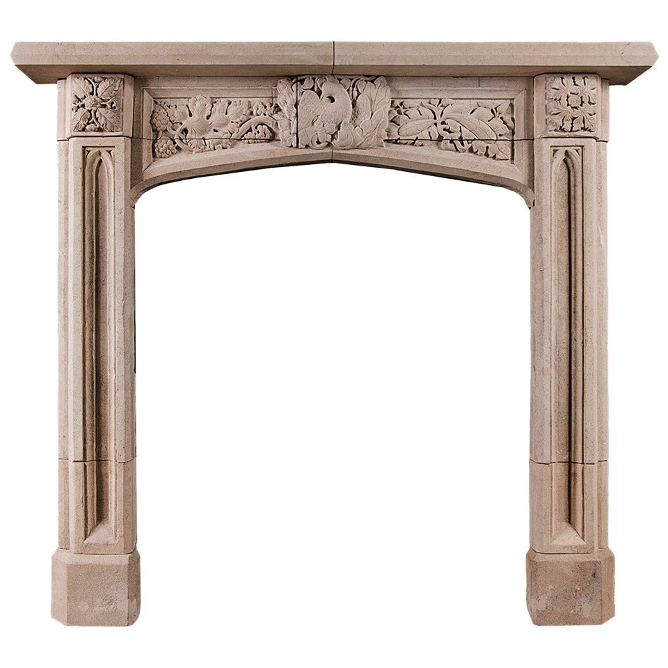 gothic revival carved bath stone fireplace mantel for sale at 1stdibs