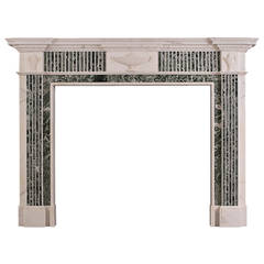 Georgian Style Statuary Fireplace Mantle with Inlaid Tinos Green Marble
