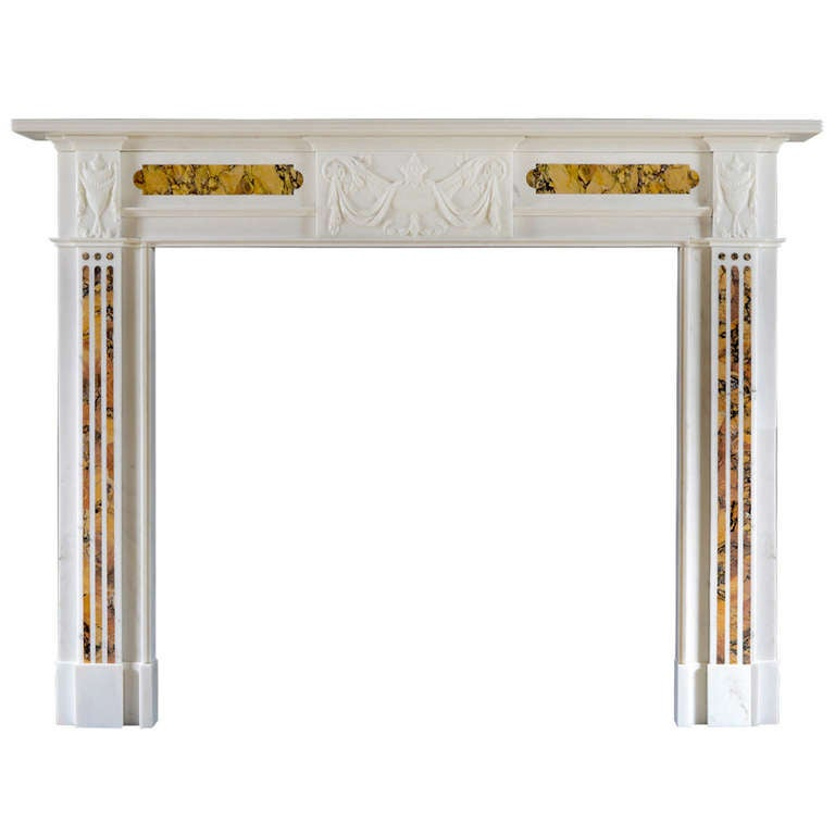 Early 19th Century Mantelpiece in Statuary and Siena Marble