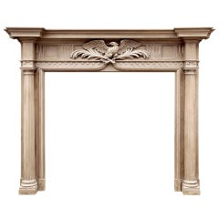 19th Century Neoclassical English Mantelpiece with Carved Eagle to Center