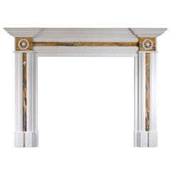 Regency Style White Marble and Siena Chimneypiece