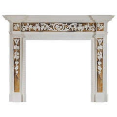 English George II Style White Marble Chimneypiece with Siena Inlay