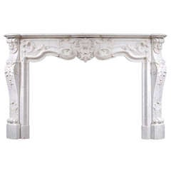 19th Century French Louis XV Style Marble Fireplace