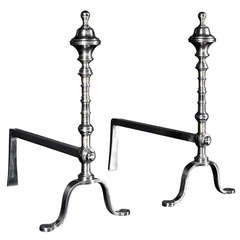 Pair of Georgian Style Polished Steel Andirons