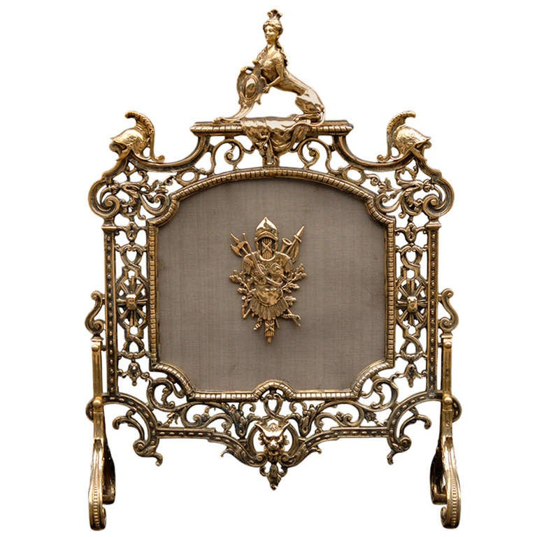 Late 19th Century English Brass Fire Guard For Sale