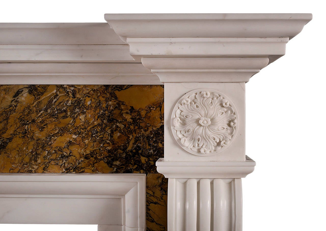 British Georgian Style Chimneypiece in Statuary and Siena Marble For Sale