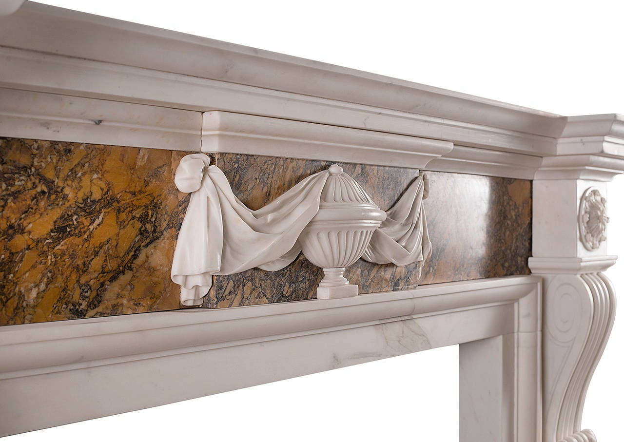 18th Century and Earlier Georgian Style Chimneypiece in Statuary and Siena Marble For Sale