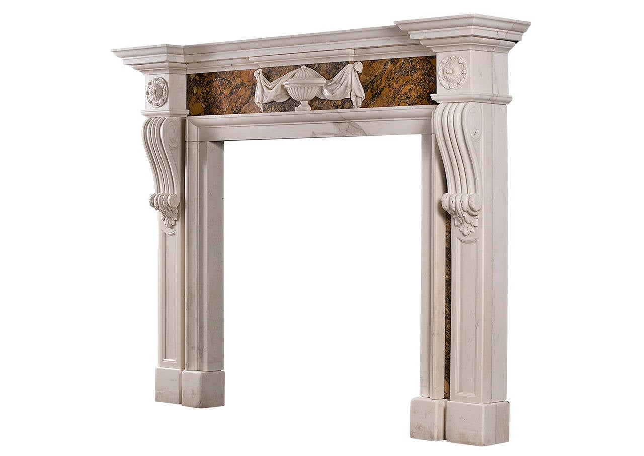 Georgian Style Chimneypiece in Statuary and Siena Marble For Sale 1